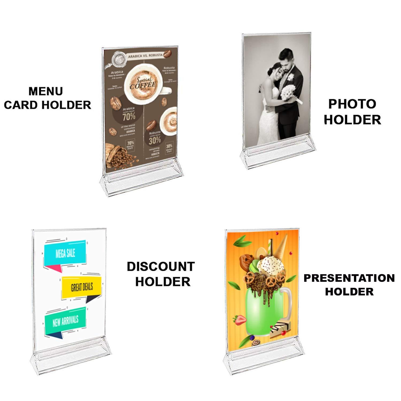 """7.6/"""" cornici per Foto H /& 11cm 12 Pezzi 4.33 /"""" - A6 Trasparente Porta-brochure da banco T Doppio Ideale per promozioni Documenti e Altro -19.5 cm Porta-avvisi da Tavolo ristoranti W"""