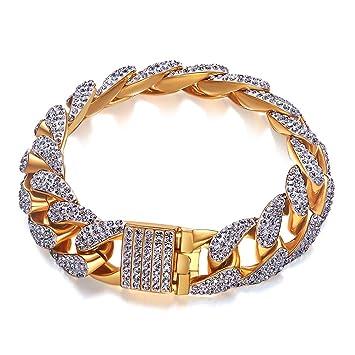 42f6abf30e96 ZSML Pulseras de Hip-Hop Chapado en Oro con Cristal de Elemento Swarovski.  Europa