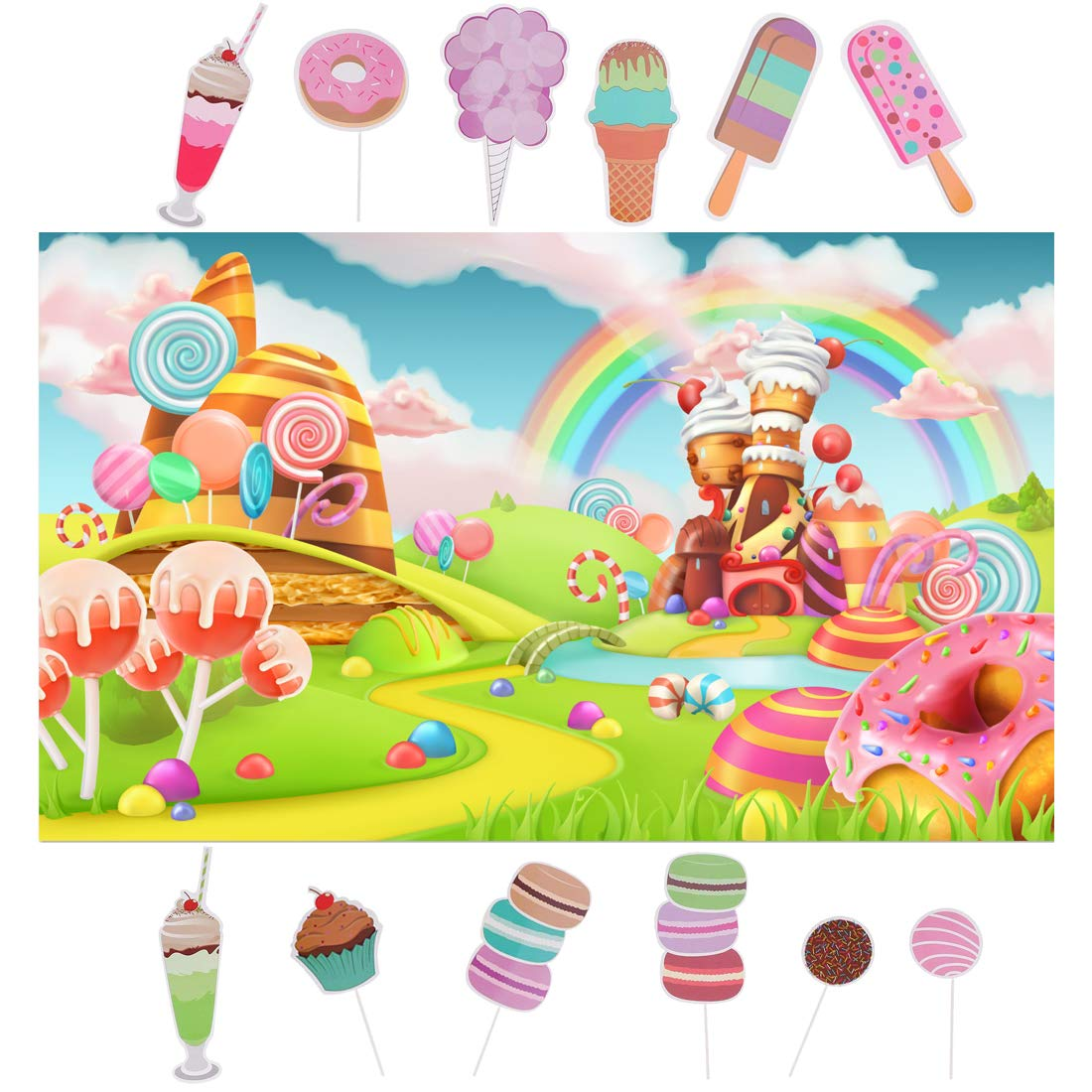 Spotlip Rainbow Candy Photo Backdrop and Studio Props DIY Kit.1 PCS Candyland Photo Booth Background,12 PCS Lollipop ice Cream Photo Booth Props,Princess Baby Shower Birthday Party Supplies