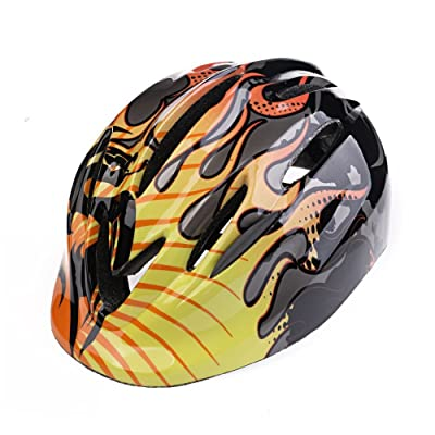 UHMei 5-12 Years Old Children Safety Helmets Riding/Skating/Single Board Skiing/Scooter/Balancing Bicycle Protective Helmet (Black Flame): Baby