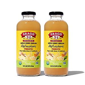 Bragg Organic Apple Cider Vinegar Beverage, Ginger Lemon Honey - 16oz, 2 Pack