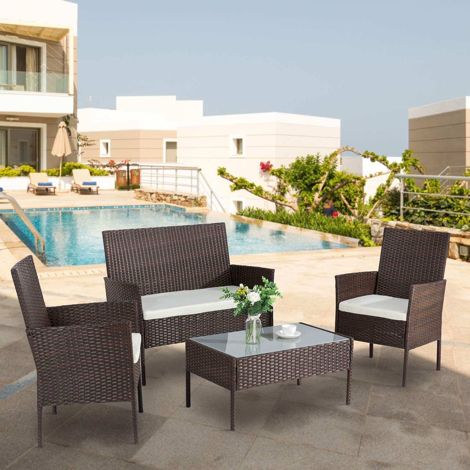 ovios Pieces Outdoor Patio Furniture Sets Rattan Chair Wicker Set with Cushions,Table,Outdoor Indoor Backyard Porch Garden Poolside Balcony Furniture Brown-Beige