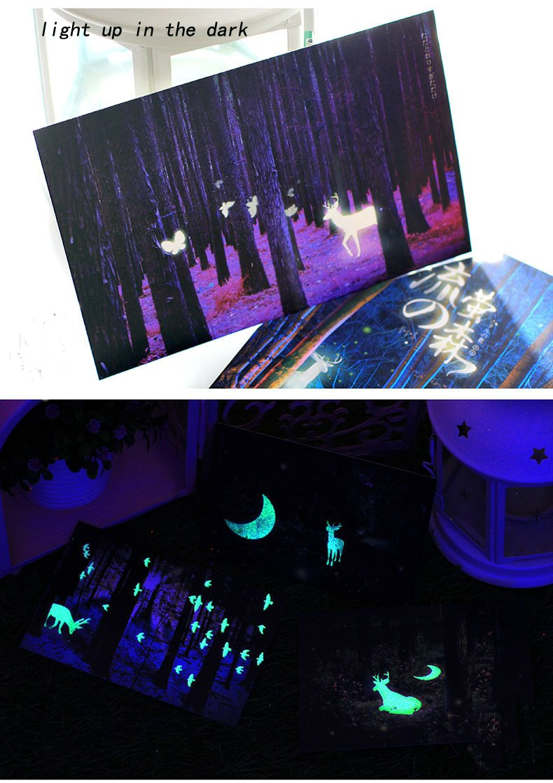 Amazon Glow In The Dark Postcards Set Of 30 Woodland Animals