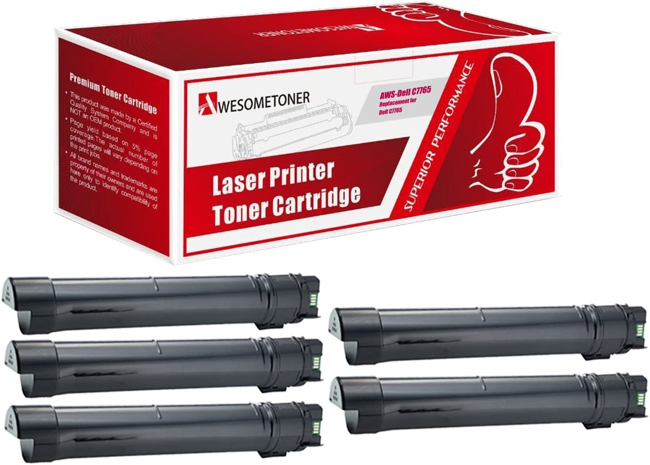 Awesometoner Compatible Toner Cartridge Replacement for Dell 3321874 use with C7765s Black, 5-Pack