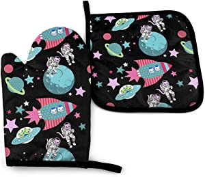 NOT Space Cats Space Rockets Oven Mitts Pot Holders with The Heat Resistance for Baking Cooking BBQ