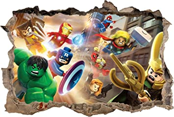 Amazoncom LEGO MARVEL DC Smashed Wall D Decal Removable Graphic - Lego superhero wall decals