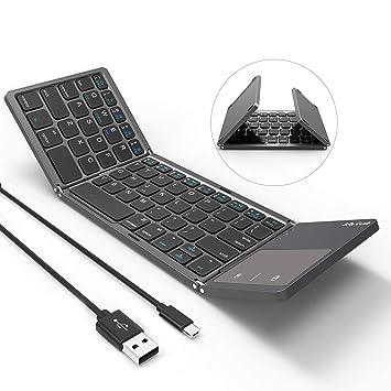 Teclado Bluetooth Plegable, Jelly Comb Recargable Portátil BT Inalámbrico Plegable Mini Teclado con Touchpad para