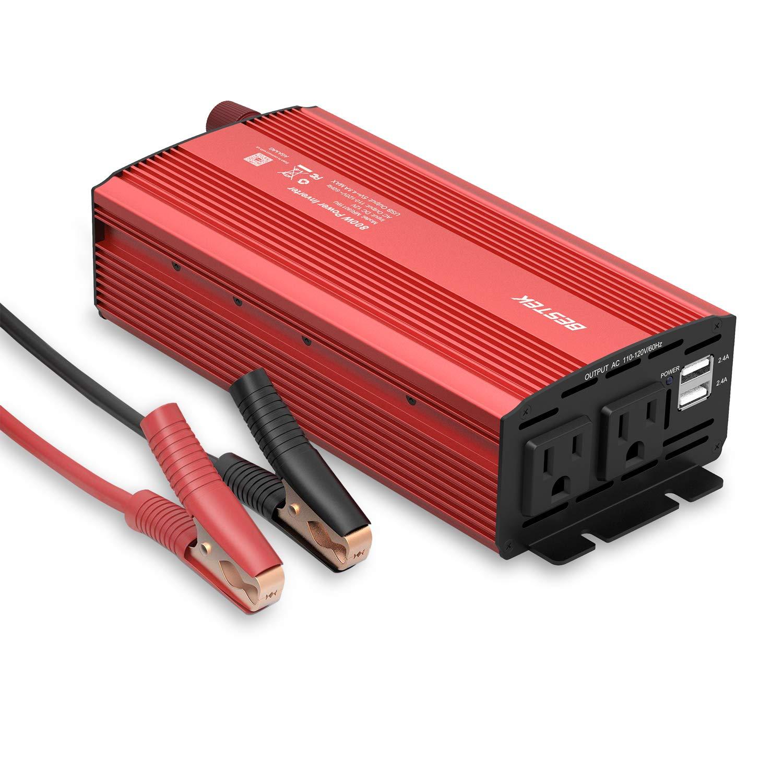 BESTEK 800W Power Inverter DC 12V to 110V AC Car Inverter with 4.8A Dual USB Charger