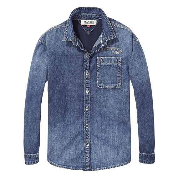 cb2c615fb Tommy Hilfiger Girls Denim Long Sleeve Shirt - Classic Simply Blue - 8  Years: Amazon.co.uk: Clothing