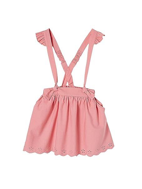 VERTBAUDET Falda corta con tirantes para niña ROSA CLARO LISO 8A   Amazon.es  Ropa y accesorios 0942ff672627