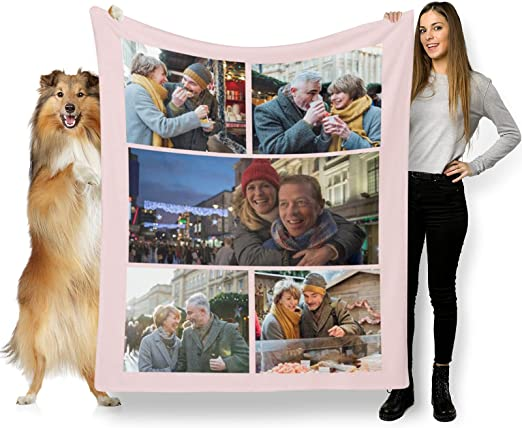 L LULUJAY Birthday Custom Blanket for Parents Personalized Photo Blanket with Text Name Custom Birthday Gifts for Mom and Dad (5 Photos Collage,32