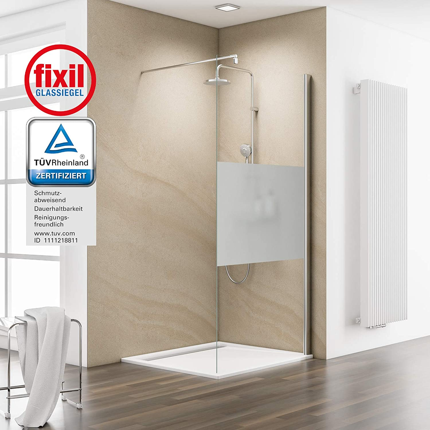 Schulte Mampara Walk In 100 x 200 cm ducha pared 6 mm cristal con ...