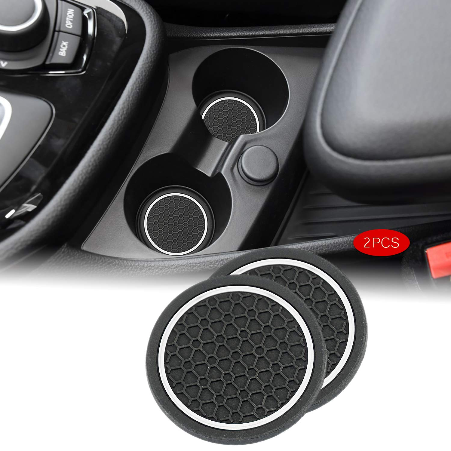 2.75 Inch Diameter Cup Holder Pad Car//Vehicle Interior Accessories Anti Slip Cup Holder Coaster Can Insert Mats 2PCS for BMW Accessories White