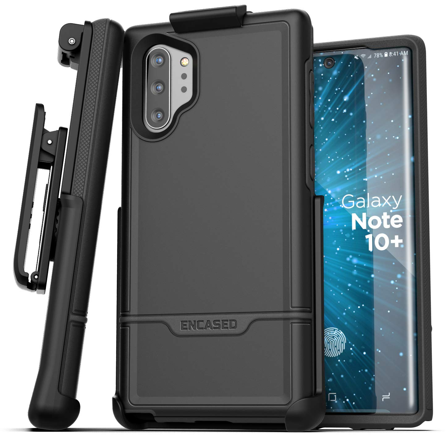 Encased Galaxy Note 10 Plus Belt Clip Protective Holster Case (2019 Rebel Armor) Heavy Duty Rugged Full Body Cover w/Holder for Samsung Note 10+ (Black) by Encased