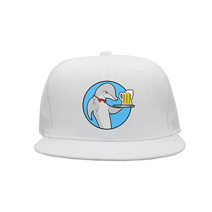 Unisex Dolphin Head and Beer Flat Baseball Cap Cool Vintage Hats at ... 21ee790d74e