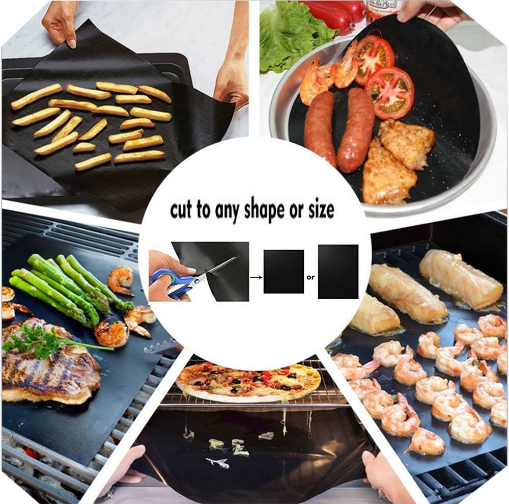 Works on Electric Grill Gas Charcoal 15.75 x 13 inches Black BBQ Grill Mat Set of 3 Non Stick BBQ /& Baking Mats Reusable and Easy to Clean Barbecue Fish Vegetable Smoking Accessories