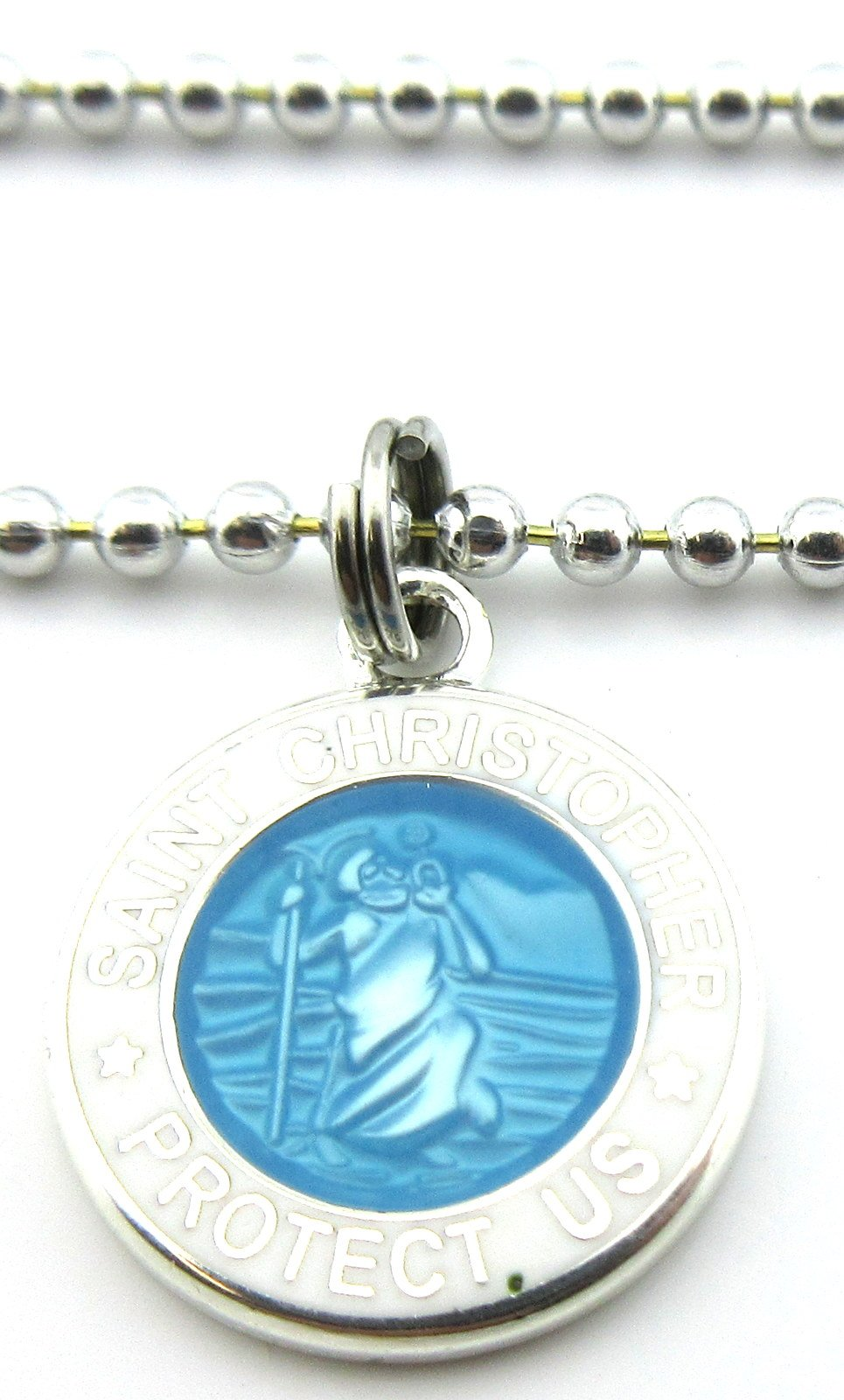 Mini St Christopher Surf Medal Pendant Necklace,Baby Blue/White BB/WH