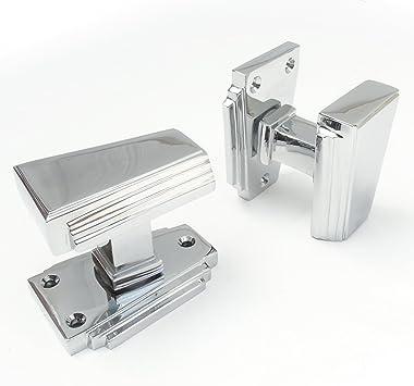 Jones Grey Art Deco Style Polished Chrome Door Handles Amazon Co Uk Diy Tools