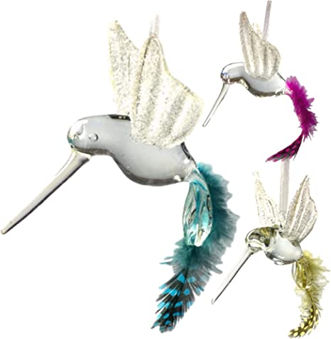 Banberry Designs Hummingbird Glass Ornaments With Glitter Accents Set Of 3 Hand Blown Crystal Bird Ornament With Feather Tails And White Shimmer Wings Christmas Tree Ornaments Home Kitchen