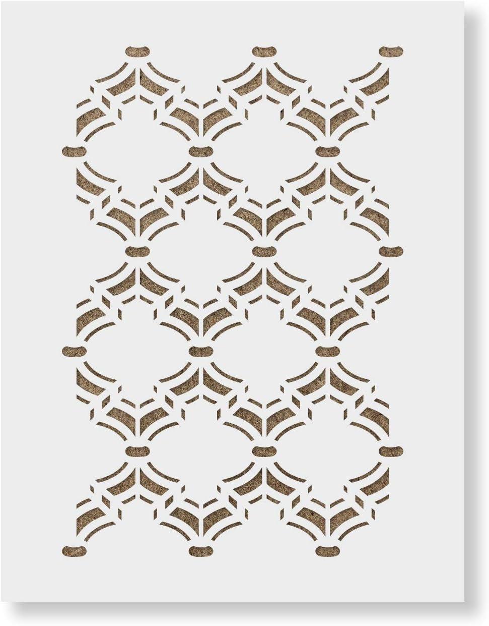 "34.5/"" x 20.5/"" Size Damask Floral Stencil Durable /& Reusable Wall Stencils"
