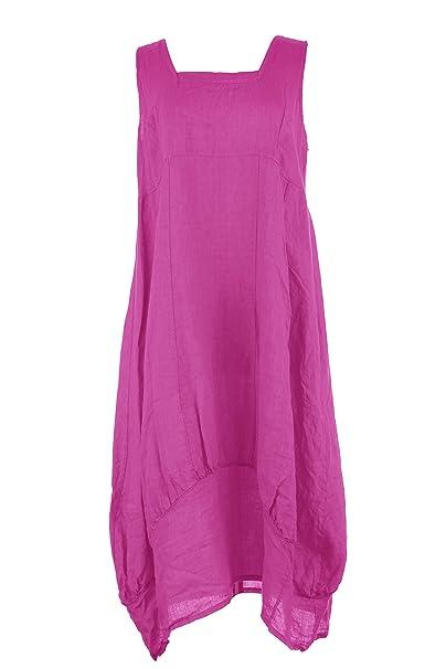66c0d14637 TEXTURE Ladies Womens Lagenlook Plain Sleeveless Square Neck Linen Long Midi  Dress One Size (Cerise Pink