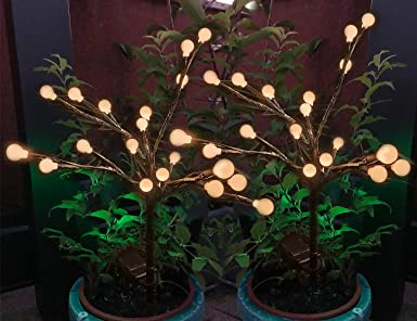 Luces Solares Jardin Decorativas 2 Piezas 20 Bolas de LED Blanco Cálido de faroles de Arboles Solar Exteriores Luz Solar Jardin de Tierra Impermeables Para Patio,Terraza, Césped,Pasillo: Amazon.es: Iluminación