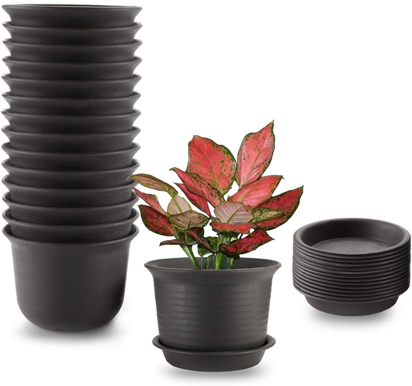 MOHENA 15PCS Plant Pots Indoor, 6 Inch Plastic Planter Pots with Saucer, Nursery Garden Pot with Drainage Hole and Tray for Flowers Herbs Succulents Cactus - Brown