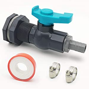 "Da by Rain Barrel 3/4"" Bulkhead Fitting with Ball Valve PVC and Garden Hose Adapter Barb(for 5/8"" ID Hose) and Stainless Steel Pipe Clamps and Thread Seal Tape"