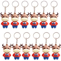 Chris.W 12Pcs 2021 Ox Year Cartoon Ox Keychains Keyring Treasure Chinese New Year Themed Party Favors Bull Pendant for…