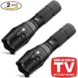 Tactical Flashlight, YIFENG XML T6 Ultra Bright LED Taclight with Adjustable Focus and 5 Light Modes for Camping Hiking Emergency (2 pack)
