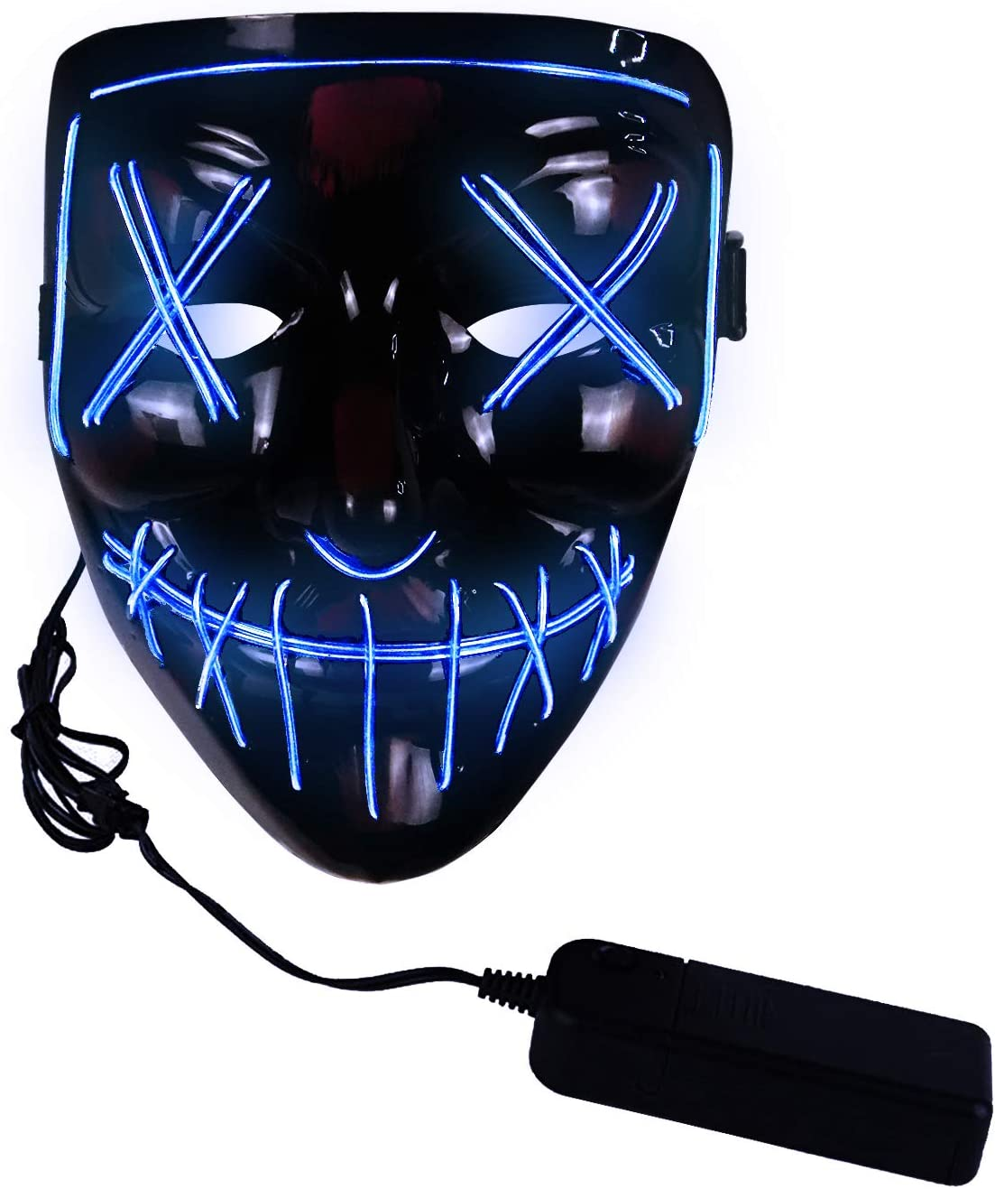 molezu LED Light Up Scary Mask, Novelty Halloween Costume Party Creepy Props, Safe EL Wire PVC DJs Mask Blue LED