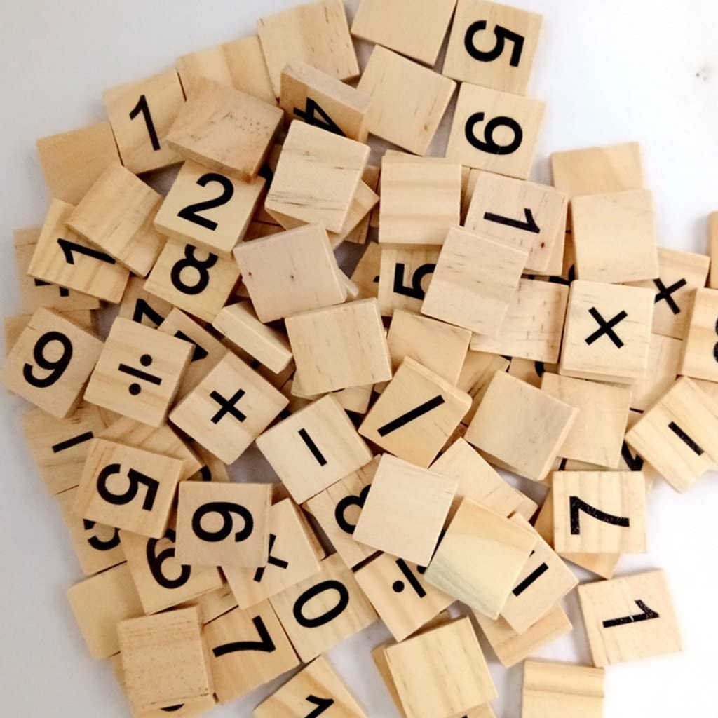 NAMVO 100PCS Wooden Scrabble Tiles Numbers and Equation Signs