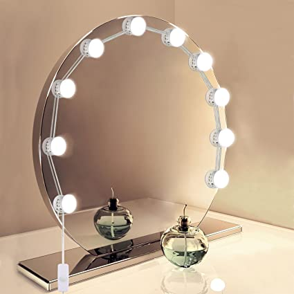 Hollywood Led Diy Vanity Mirror Lights Kit With 10 Dimmable Bulbs Lighting Fixture Strip For Bathroom Dressing Makeup Vanity Table Mirror Not