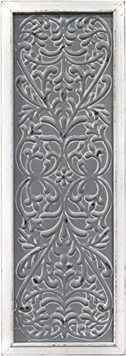Stratton Home Decor — Dropship, us home, SUHQX Stratton Home Decor Metal Embossed Panel Wall D cor, Distressed White, Grey