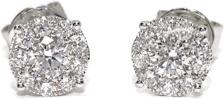 Pendientes de diamantes de 0.67cts montados en oro blanco de 18k con cierre presión y 7mm de diámetro