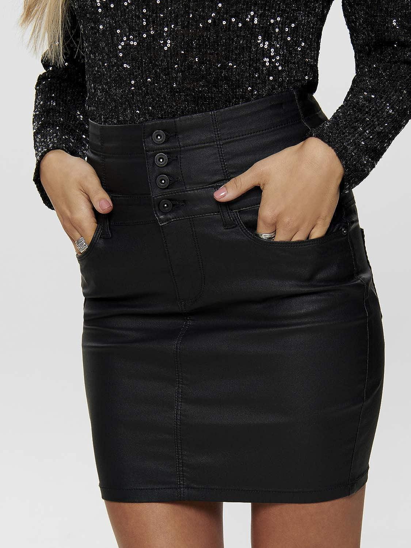 Only Jupe /à corsage avec rev/êtement en corsage pour femme Noir