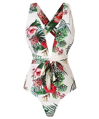 38498b616b K Women s Tropical Print Deep V-Neck Criss Cross Floral One Piece Swimsuit