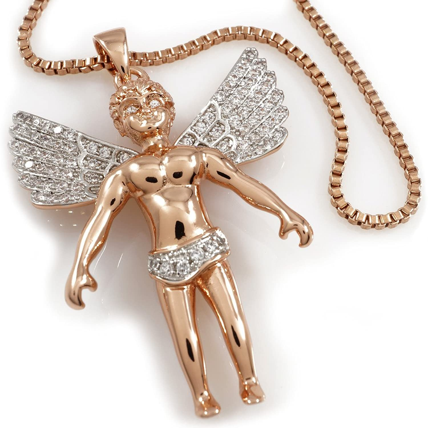 18k Gold, Rose Gold, Black Solid ANGEL Pendant Piece with BOX chain