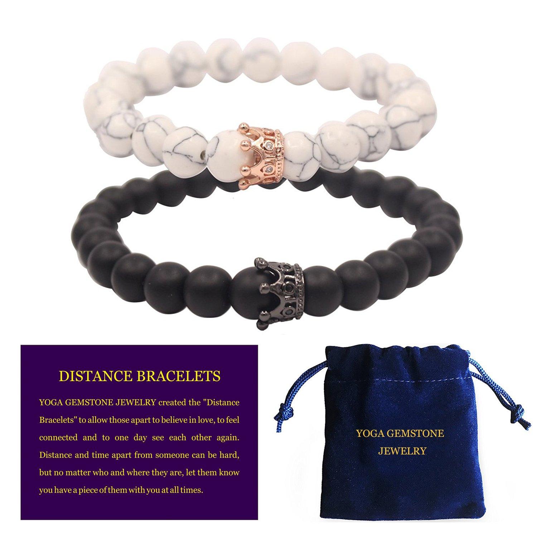 YOGA GEMSTONE JEWELRY Distance Bracelets With Jewelry Bag & Meaning Card Friendship Relationship Couples His Hers Black Agate Onyx White Howlite CZ Crown Stretch Lava Rock Chakras Mala Bracelet