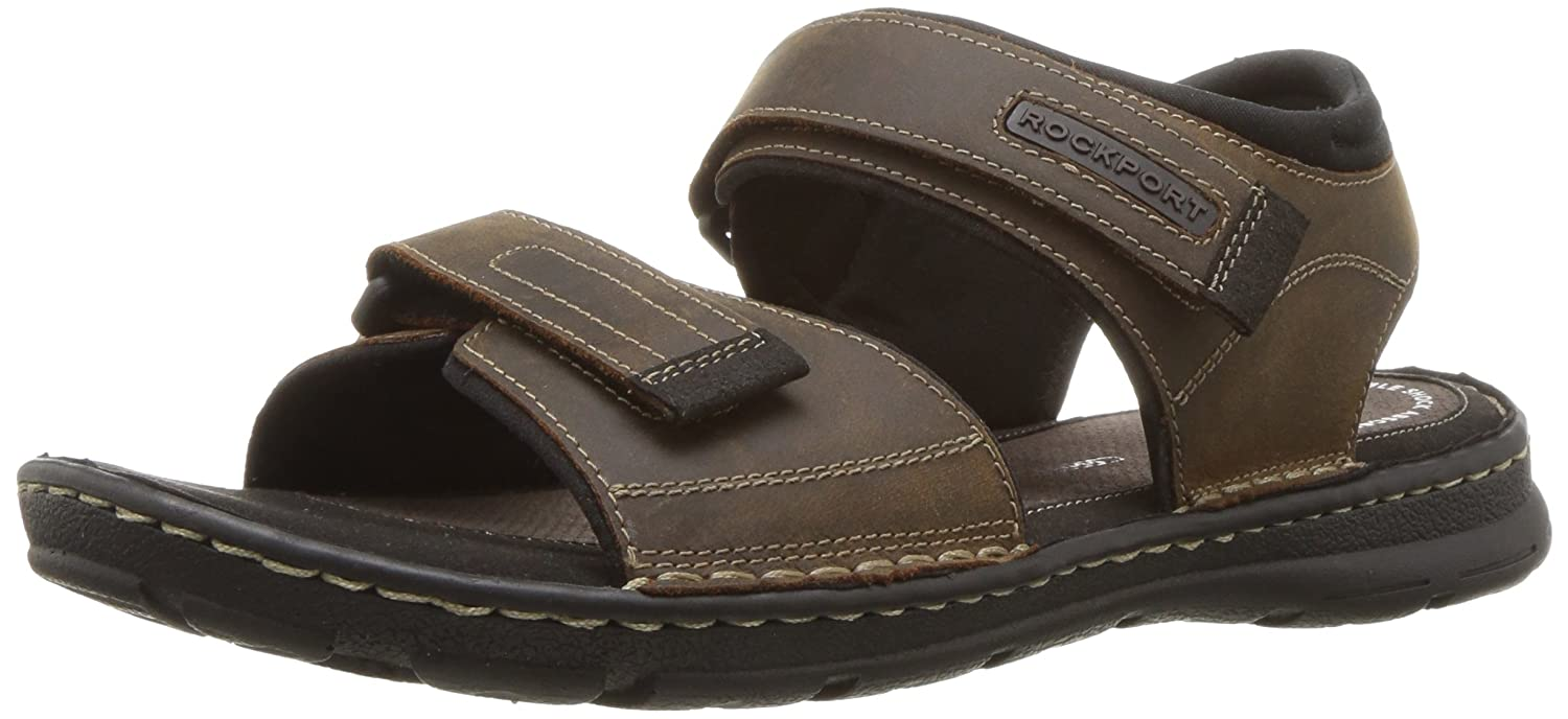 Rockport Men's Darwyn Quarter Strap Sandal 8 D(M) US|Brown Ii Leather
