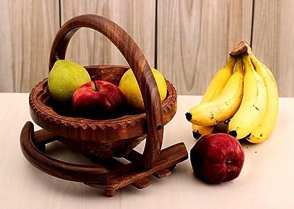 Storeindya Elegant Hand Crafted Wooden Collapsible Fruit Bowl Bread Basket Diwali Gifts