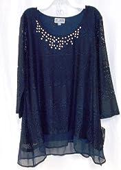 JM Collection Womens Lace Chiffon-Hem Top Intrepid Blue S NWT b9ec9ec08