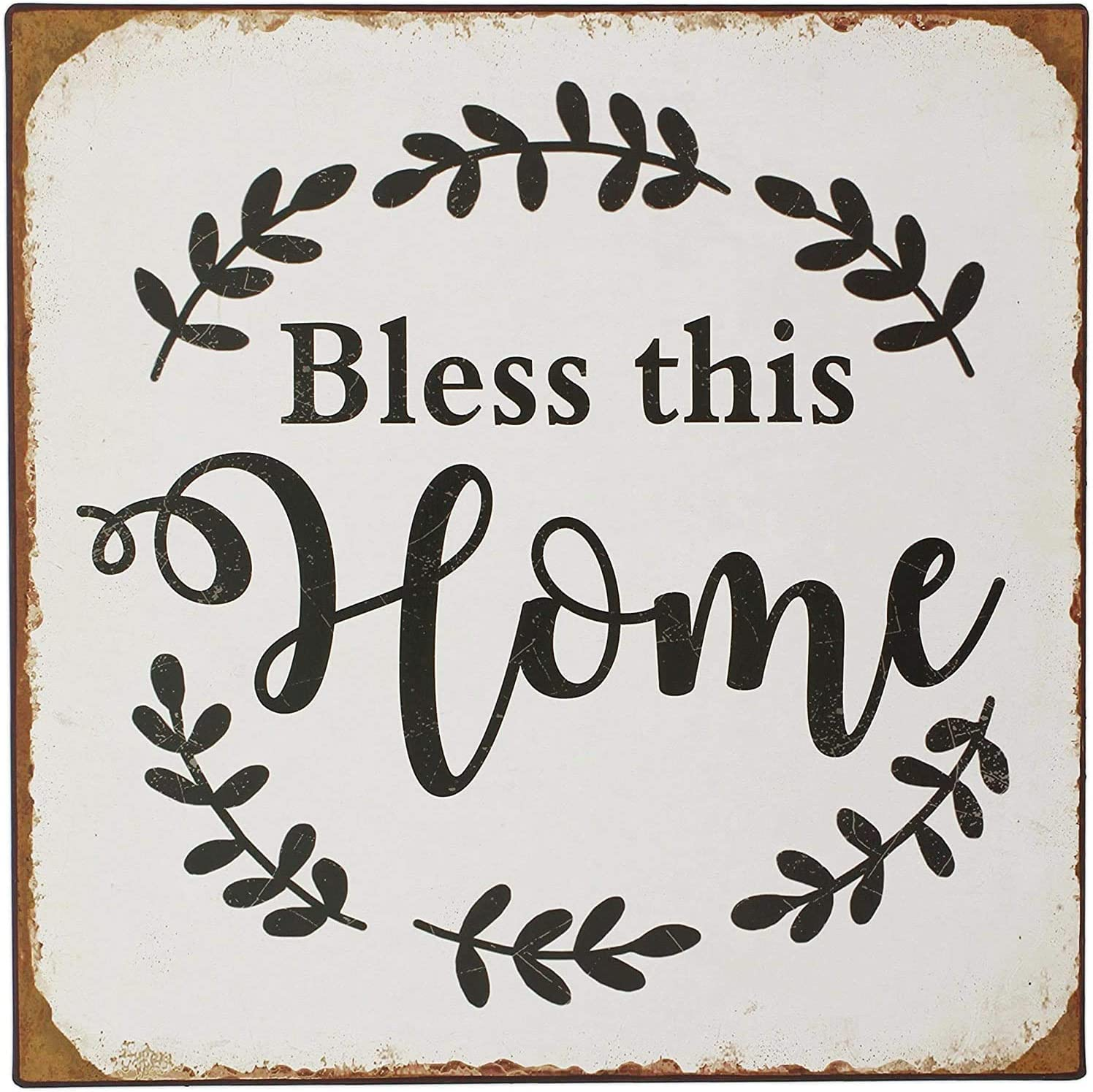 HAPPY DEALS ~ Bless This Home   Primitive Metal Rusty Tin Sign   12 inch   Farmhouse, Shabby Chic, Primitive Sign