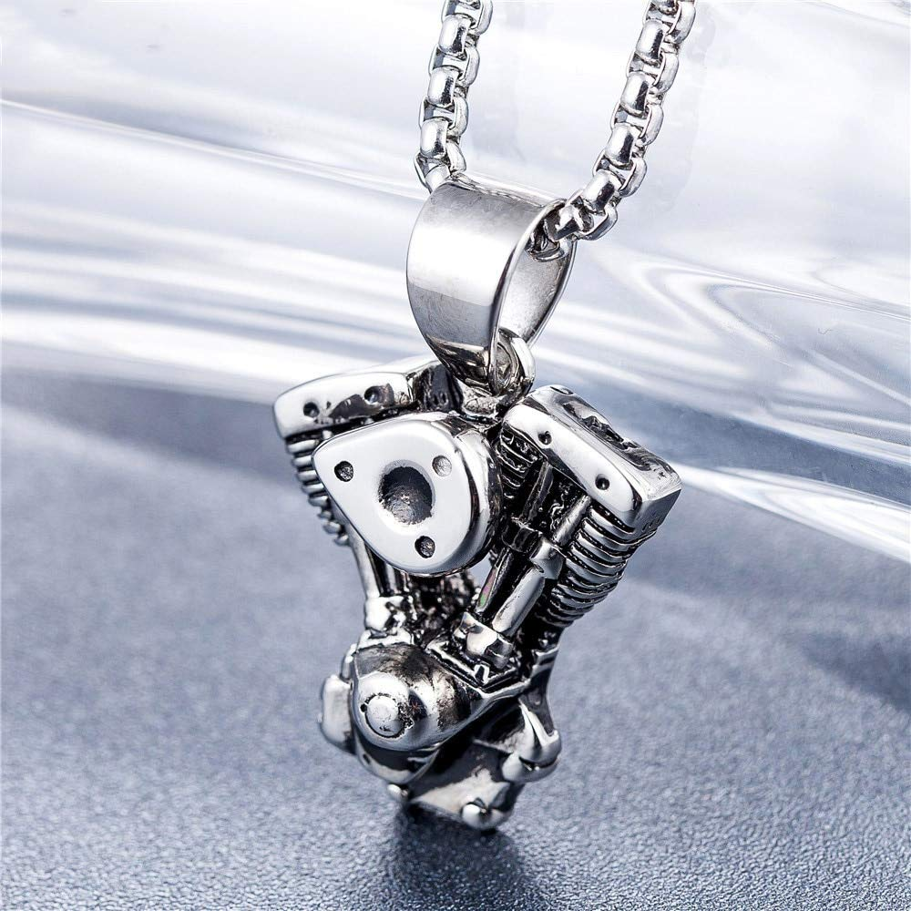 Davitu Personalized Engine Motorcycle Chain Biker Punk Gothic Necklace for Men Vintage Stainless Steel Chain Metal Color: 01