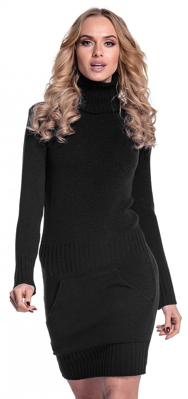 TALLA EU 36/38. Glamour Empire. Para Mujer. Vestido de Punto Bolsillo Delantero Cuello Alto. 178 Negro EU 36/38