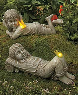 Amazoncom Solar Children Garden Statue And Pet Boy Patio