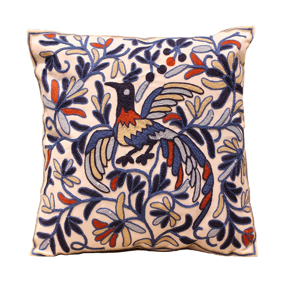 Decorative Throw Pillows Covers Embroidered Cushion Cover Blue Peacock Pillowcases Home Decor for Couch Sofa Bed Living Room 18x18 Inch 100% Cotton
