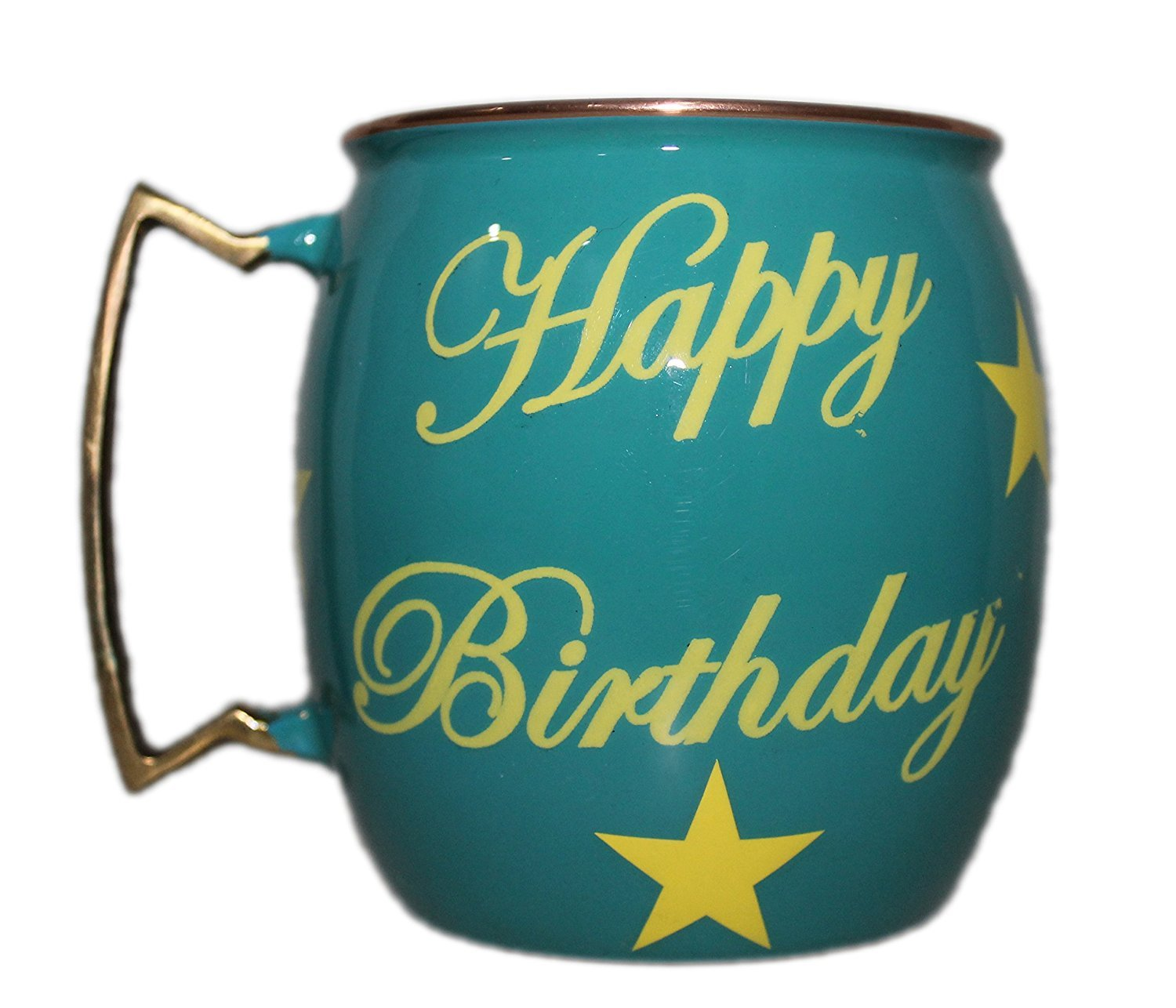 PARIJAT HANDICRAFT Happy Birthday Hand Painted Copper Mugs Special Deign For Gift On Birthday Moscow Mule Mugs Cups Mugs Smooth Finish(LIGHT BLUE)