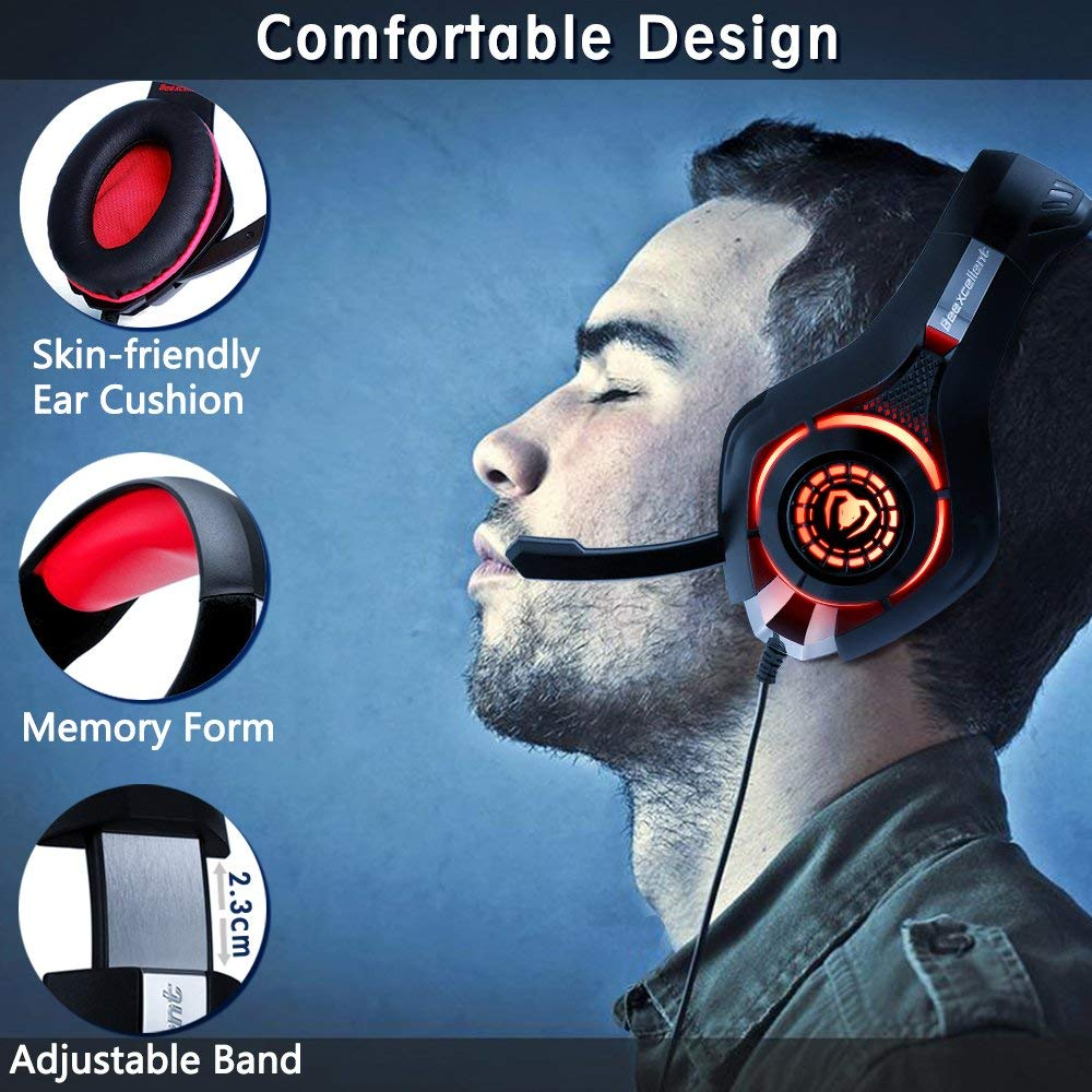 Enhanced Comfortable Earmuff-Red Beexcellent PS4 Xbox One Gaming Headset【2019 New】 PC Mac Stereo Headphone with【Anti-Noise Flexible Mic】 Polished Sturdy Shell