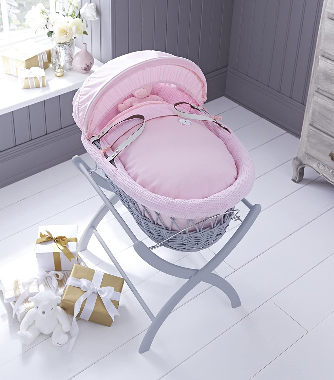 Izziwotnot Pink Gift on Dark Wicker Moses Basket